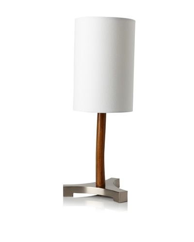 Ren-Wil Curved Wood Lamp, Brown/Silver/White