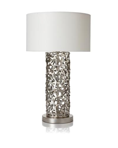 Ren-Wil Silver Mesh Lamp, Silver/White