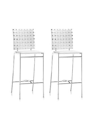 Zuo Criss Cross Counter Chair White (set of 2)