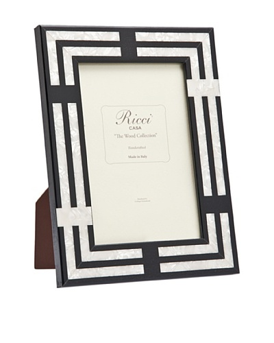 Ricci Cornelia Inlaid Wood with Mother of Pearl Specks Photo Frame, Black, 4 x 6