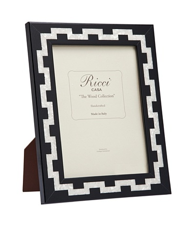 Ricci Katherine Handcrafted Mother of Pearl Photo Frame, Black/Ivory, 8 x 10