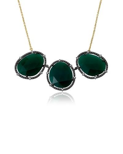 Riccova Triple Green Agate Chain Necklace