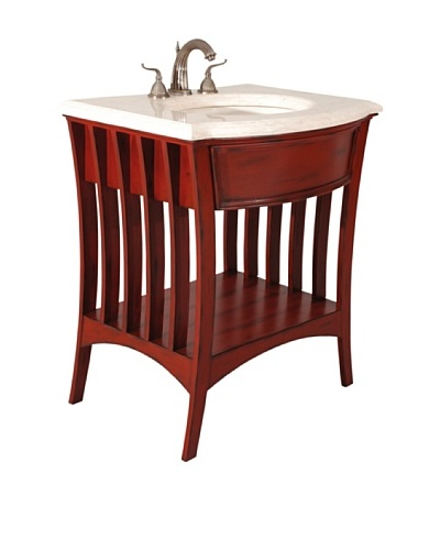 River Road Collection Metropolitan Sink Chest, Red/IvoryAs You See