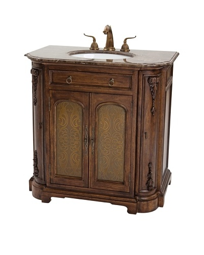 River Road Collection Camille Etched Sink Chest, Rich Mahogany/Dark EmperadorAs You See