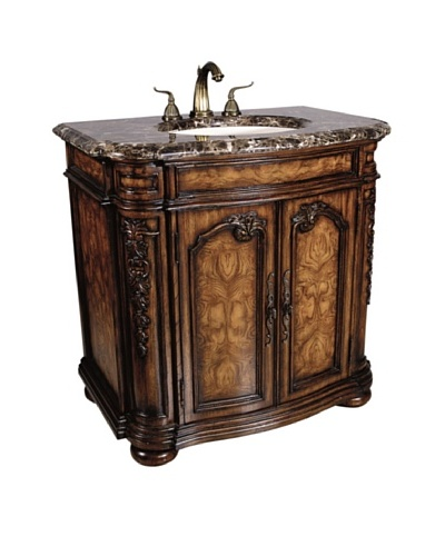 River Road Collection Trenton Sink Chest, Mahogany/Dark Emperador