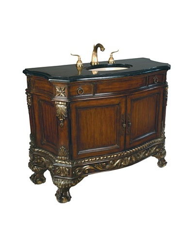 River Road Collection Ball & Claw Sink Chest, Mahogany/Black