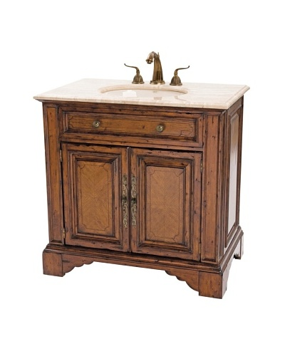 River Road Collection Bayne Sink Chest, Distressed Pecan