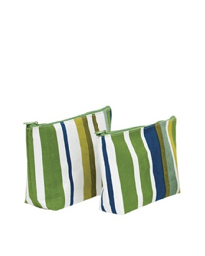 RockFlowerPaper Sunrise Stripe Blue Zip Bags (Set of 2)