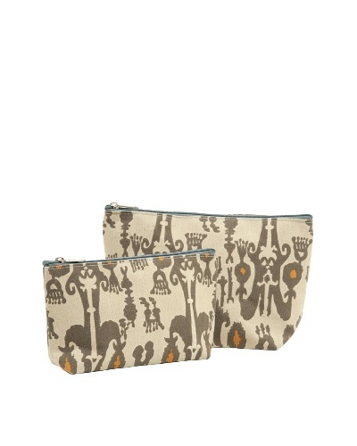RockFlowerPaper Jewel Ikat Taupe Zip Bags (Set of 2)