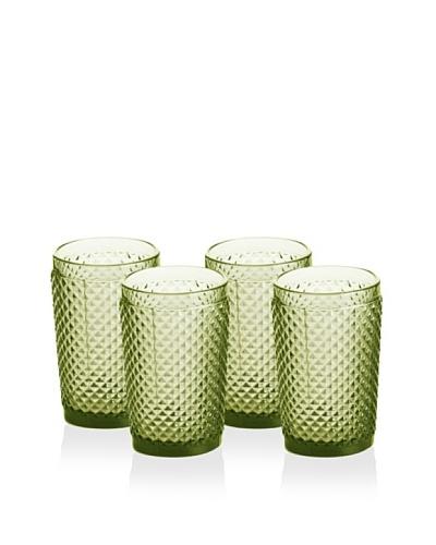 Rosanna Set of 4 Pressed Glass 10-Oz. Highballs, Olive
