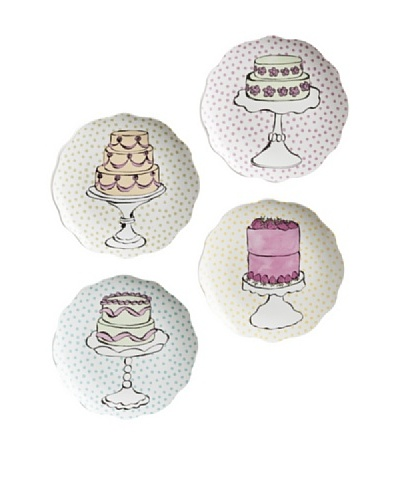 Rosanna Set of 4 Assorted Eat Dessert First Dessert Plates