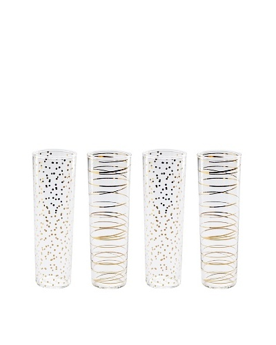 Rosanna Set of 4 Assorted Luxe Moderne 8-Oz. Flutes