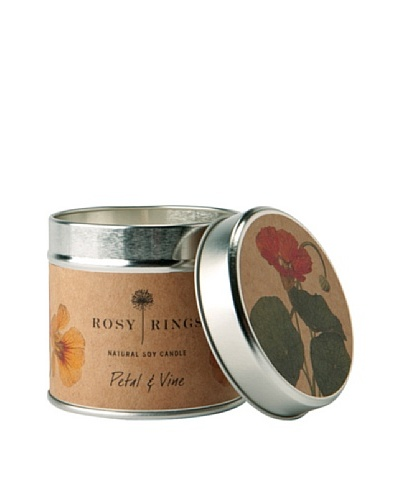 Rosy Rings Natural Soy Candle in Tin, Petal & Vine