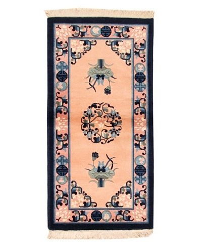 Roubini Chinese Wool Rug With Antique Finish, Peach/Navy, 4' 2 x 2' 2