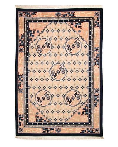 Roubini Chinese Antique Finish Rug, Cream/Peach/Navy, 6' 2 x 9'