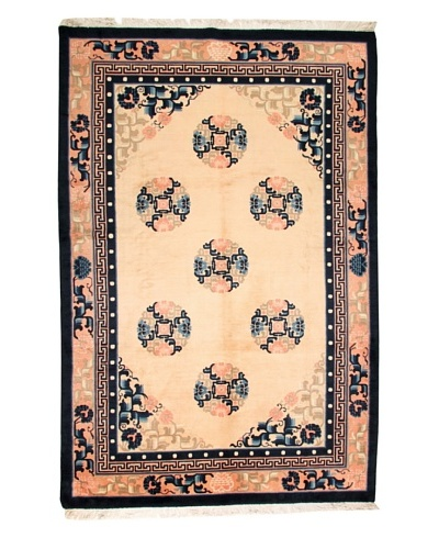 Roubini Chinese Wool Rug With Antique Finish, Peach/Navy, 9' 2 x 6'
