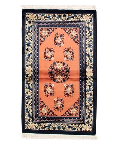 "Roubini Chinese Antique Finish Rug, Peach/ Navy, 3' 2"" x 5' 2"""