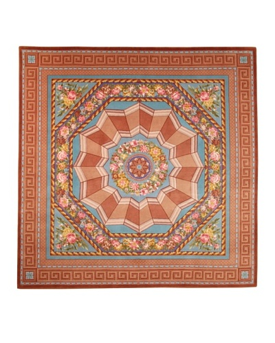 Roubini Palazzo Hand Knotted Wool & Silk Rug, Multi, 8' Square