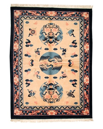 "Roubini Chinese Wool Rug With Antique Finish, Peach/Blue, 7' 6"" x 5' 6"""