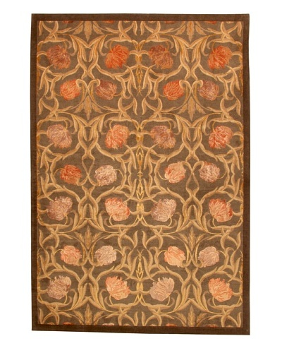 Roubini Tibetani Tibetan Yak Spun Wool & Silk Luxury Rug, Brown, 5' 5 x 8'