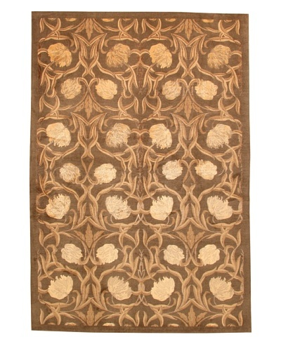Roubini Tibetani Tibetan Yak Spun Wool & Silk Luxury Rug, Brown Multi, 5' 5 x 8'