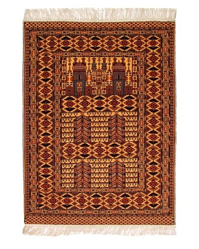 "Roubini Afghan Fine Wool Rug With Silk Fringe, Multi, 5' 9"" x 4' 4"""