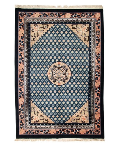 Roubini Chinese Wool Rug With Antique Finish, Peach/Navy, 9' x 6' 3As You See