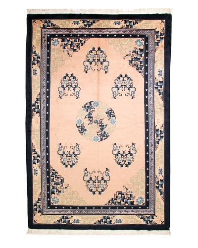 Roubini Chinese Antique Finish Rug, Light Pink/Cream/Navy, 6' x 9' 2