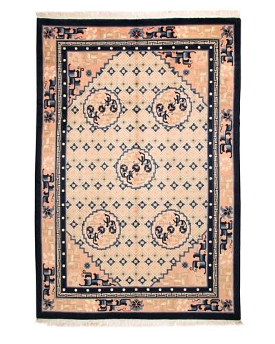"Roubini Antique Finish Chinese Rug, Cream/Peach/Navy, 9' x 6' 2"""