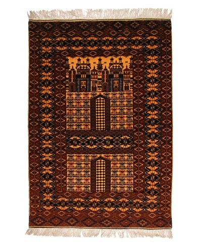 "Roubini Old Afghan Fine W/ Silk Fringe, Multi, 6' 3"" x 4"" 5"""