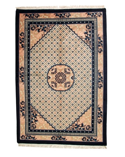 Roubini Chinese Antique Finish Rug, Peach/Navy, 6' 2 x 9'
