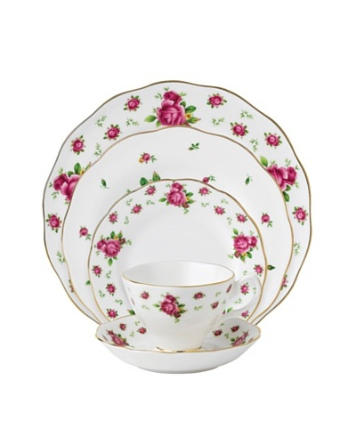 Royal Albert New Country Roses Vintage 5-Piece Place Setting, White