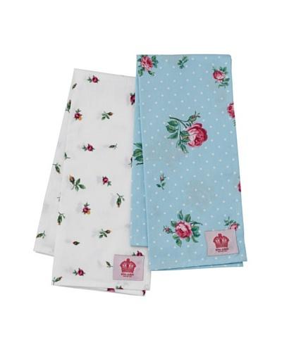 Royal Albert Polka Blue & Rose Buds Tea Towels