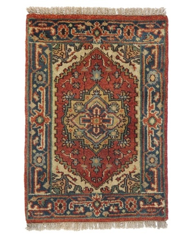 Rug Republic One Of A Kind Indo-Serapi Hand Knotted Rug, Antique Red/Multi, 2' x 2' 1As You See