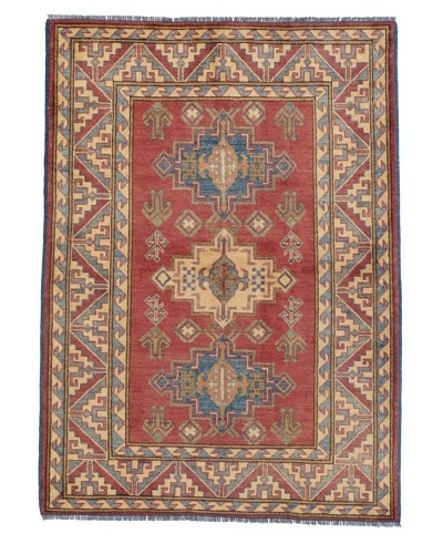 """Rug Republic One Of A Kind Pakistani Kazak Rug, Red/Blue/Antique Ivory/Multi, 4' x 5' 8""""As You ..."""