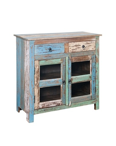Coast to Coast Double Door Glass Cabinet with Drawers