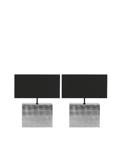 Safavieh Set of 2 Edna Silver Metallic Table Lamps, Silver Metallic with Silver Metallic; Black Shad...