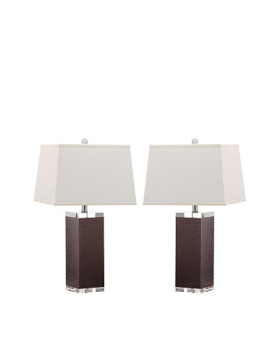 Safavieh Set of 2 Deco Leather Table Lamps, Crocodile