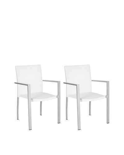 Safavieh Set of 2 Cordova Indoor/Outdoor Stacking Armchairs, Off White