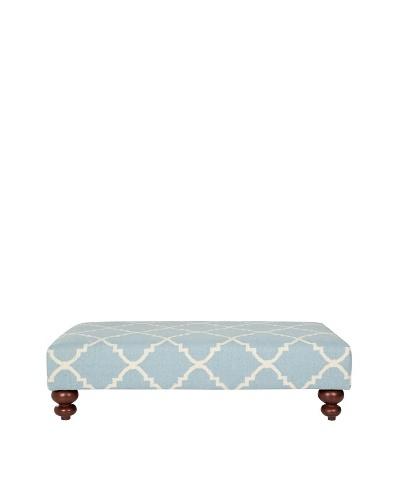 Safavieh Quatrefoil Dhurrie Ottoman, Light Blue/Ivory