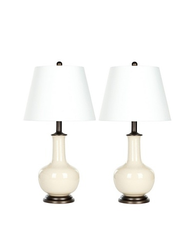Safavieh Set of 2 Danielle Table Lamps, Silver Neck with Cream, White Shade