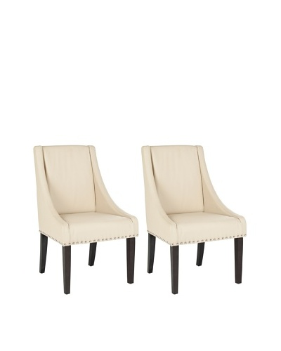 Safavieh Mercer Collection Austin Taupe Leather Sloping Arm Chair, Set of 2