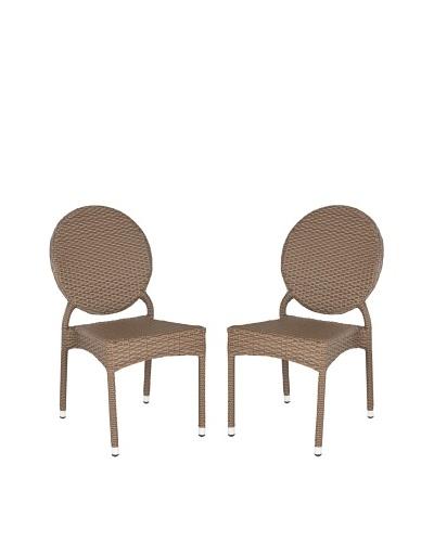Safavieh Set of 2 Valdez Indoor/Outdoor Stacking Side Chairs, Brown