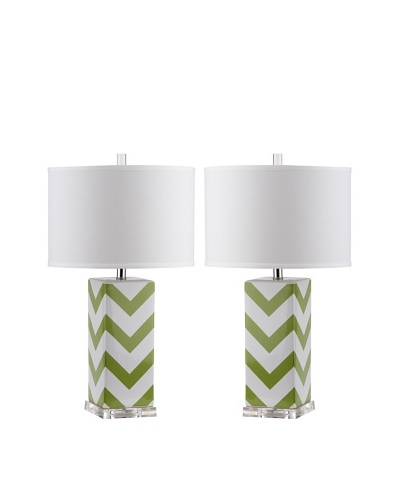 Safavieh Set of 2 Chevron Stripe Table Lamps, Green