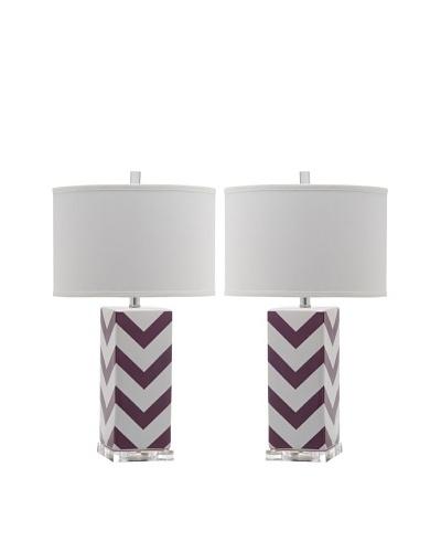 Safavieh Set of 2 Chevron Stripe Table Lamps, Purple
