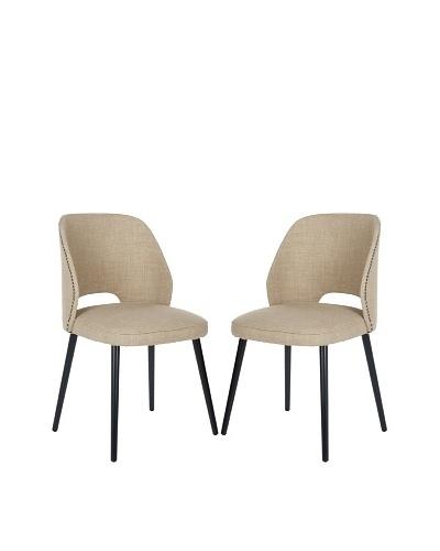 Safavieh Set of 2 Lizzie Dining Chairs, Beige