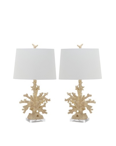 Safavieh Set of 2 Coral Branch Table Lamps, Cream