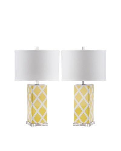 Safavieh Set of 2 Garden Lattice Table Lamps, Yellow