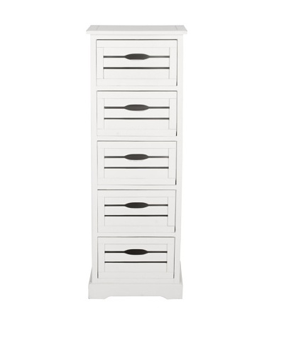 Safavieh Sarina-5 Drawer Cabinet, Distressed Cream