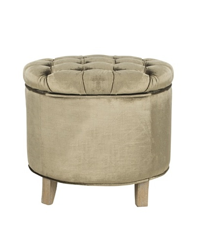 Safavieh Amelia Tufted Storage Ottoman, Antique Sage